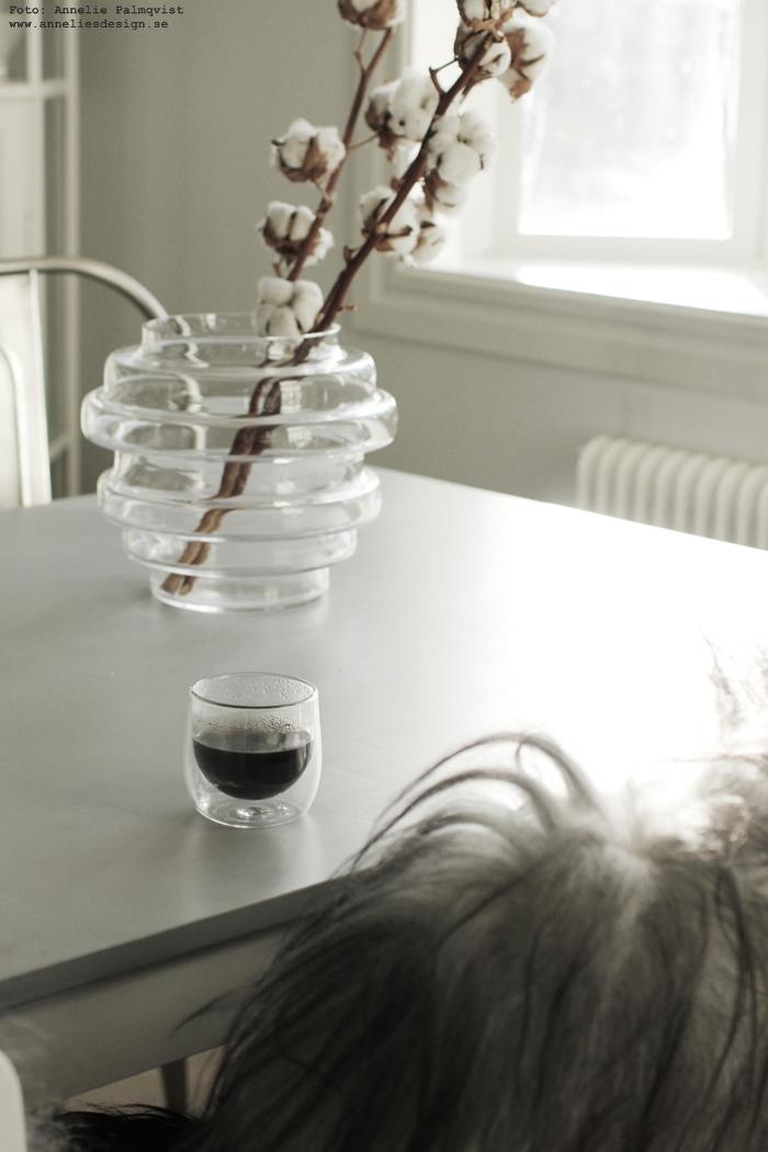 annelies design, vako, vas, smaelta, vako vatten 260, kök, bomullskvistar, mugg, kaffe, kaffekopp, dubbla glas, glas, inredning,