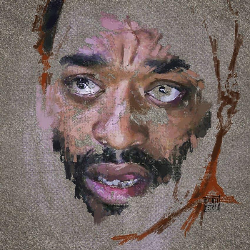 Black worried man portrait mixed media on canvas