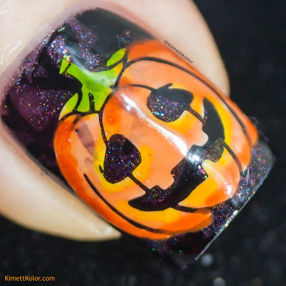 KimettKolor Jack O' Lantern Nail Art
