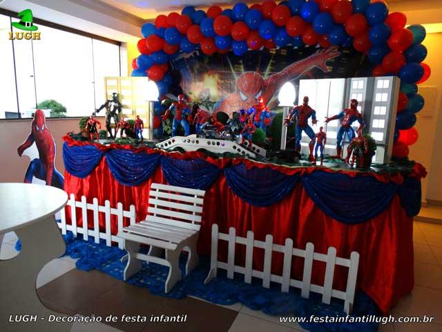 Decoração infantil do Homem Aranha - Mesa de tecido luxo - Festa de aniversário