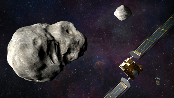 An artist's concept of NASA's DART spacecraft and the Italian Space Agency's LICIACube approaching the near-Earth asteroid Didymos and its moon Dimorphos.