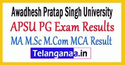Awadhesh Pratap Singh University APSU PG Exam Result