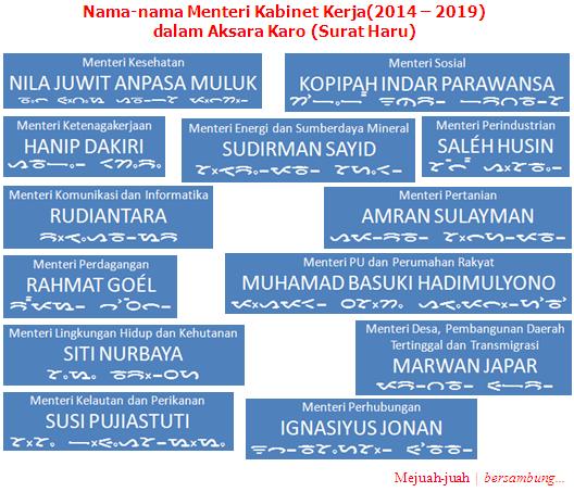Aksara Karo: Nama Menteri