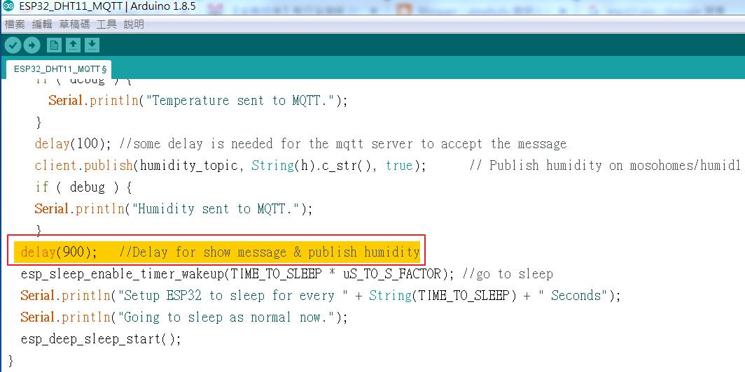 alex9ufo 聰明人求知心切: 使用ESP32板將DHT發送到MQTT然後深度睡眠