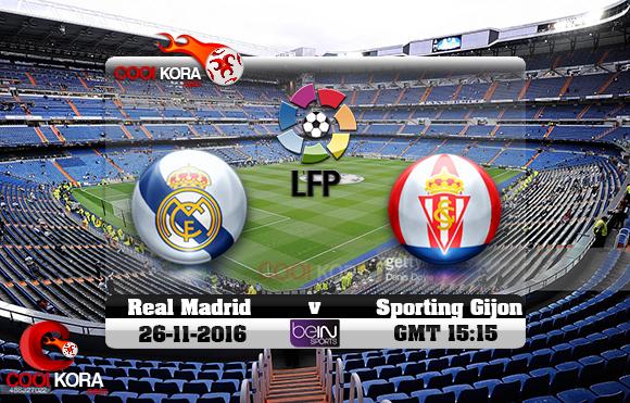 مشاهدة مباراة ريال مدريد وسبورتينغ خيخون اليوم 26-11-2016 في الدوري الأسباني