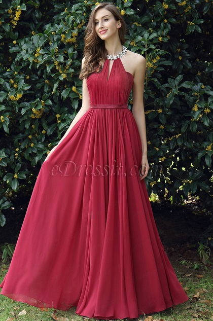 eDressit Burgundy Pleated Halter Formal Evening Dress