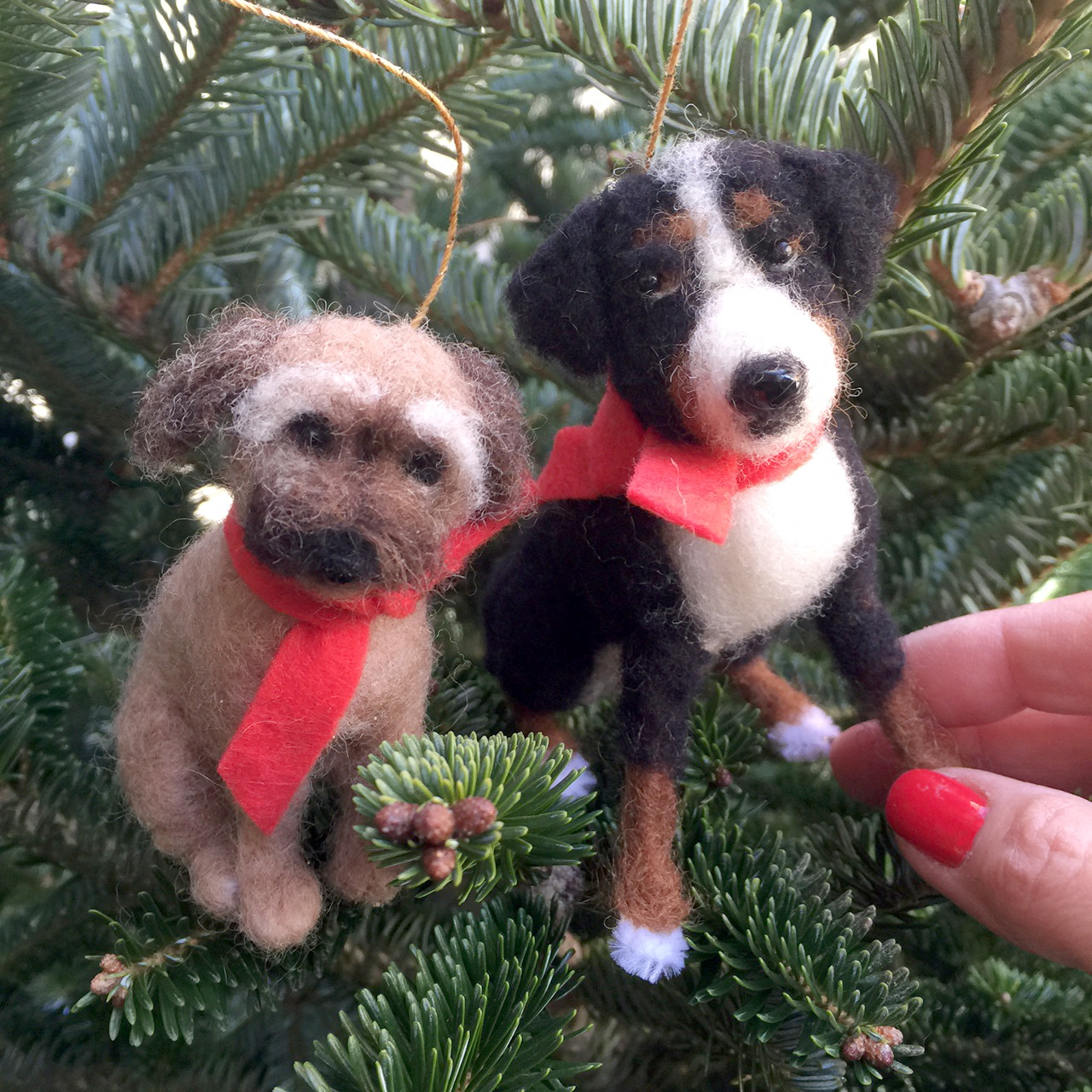 facci designs custom needle felted dog ornaments