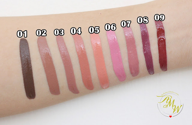a swatch photo of Cathy Doll Nude Me Liquid Lip Matte Review.  Shades True Brown, Nude Brown, Rose Embroidery, Rose Bloom, Peach Me, Dusty Rose, Moss Rose, Aggie Maroon and Burgundy Red