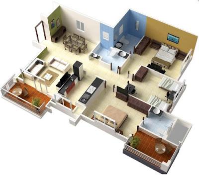 Desain Rumah Minimalis Dengan 3 Kamar Tidur