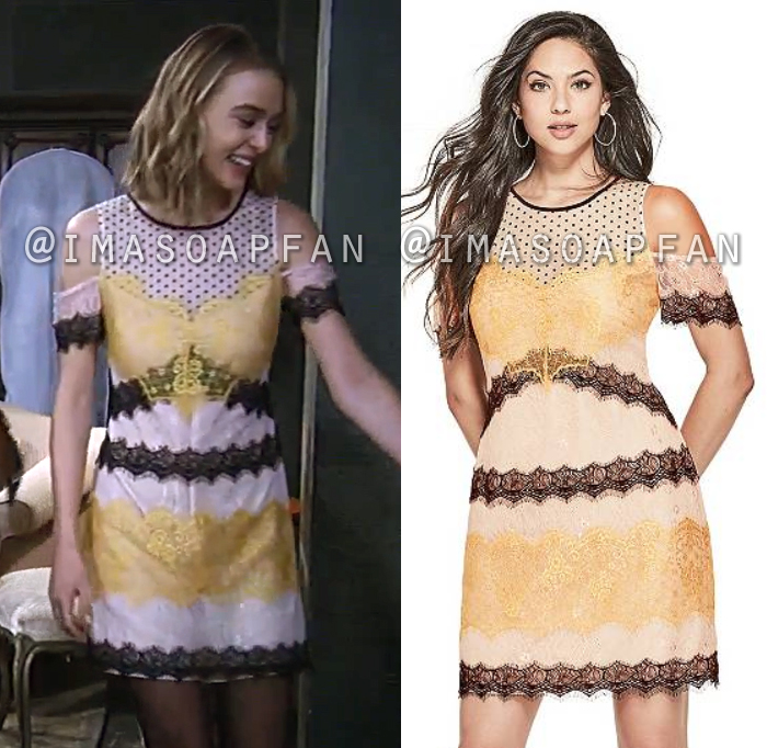 Kiki Jerome, Hayley Erin, Pink Black and Yellow Mixed Lace Dress, GUESS, General Hospital, GH
