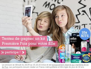 Participez au Jeu Concours envie de plus avec 10 kits Première Fois pour votre fille à gagner !