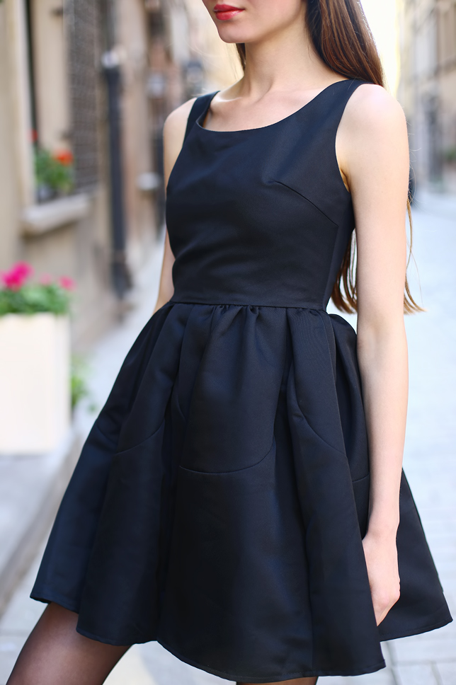 black flared dress