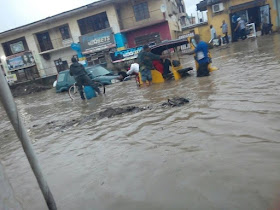 Look at what was left of a street in Aba after yesterday's rain
