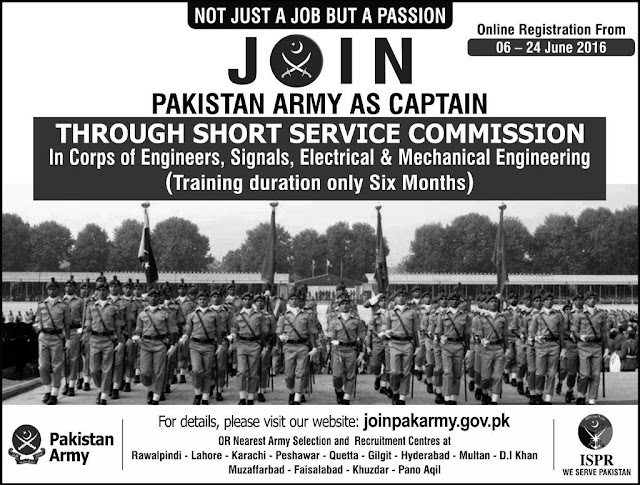 Join Pakistan Army as Captain Jobs in Pakistan Army through SSC Apply online