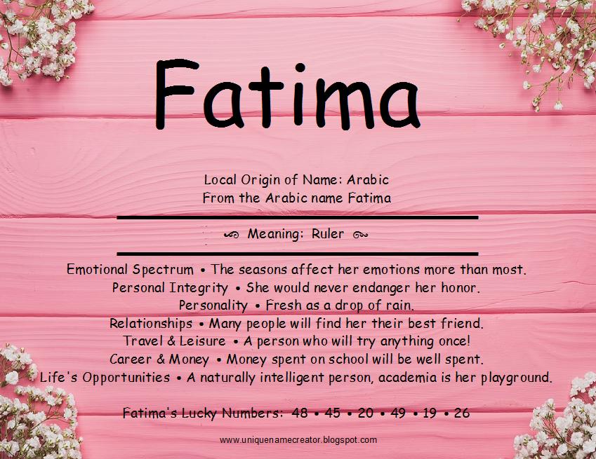 Fatima | Unique Name Creator