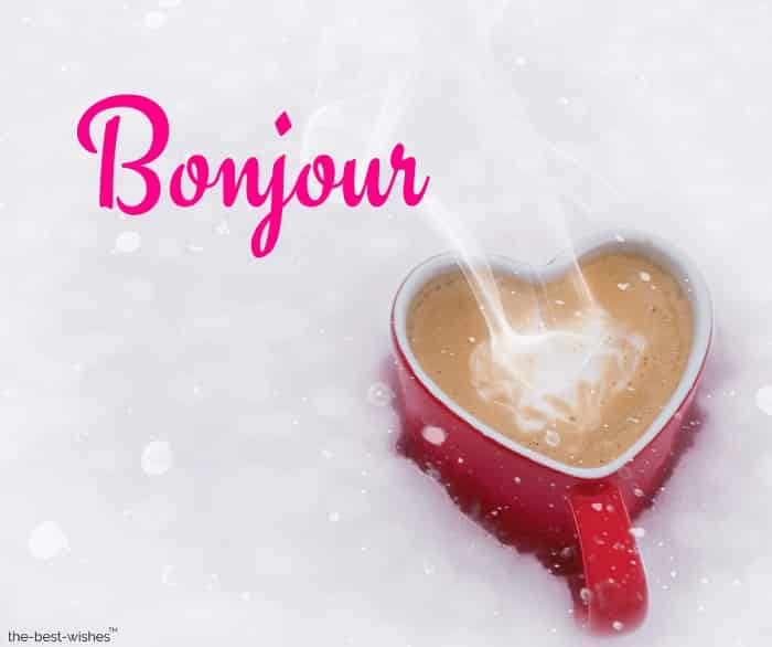 good morning in french with a coffee
