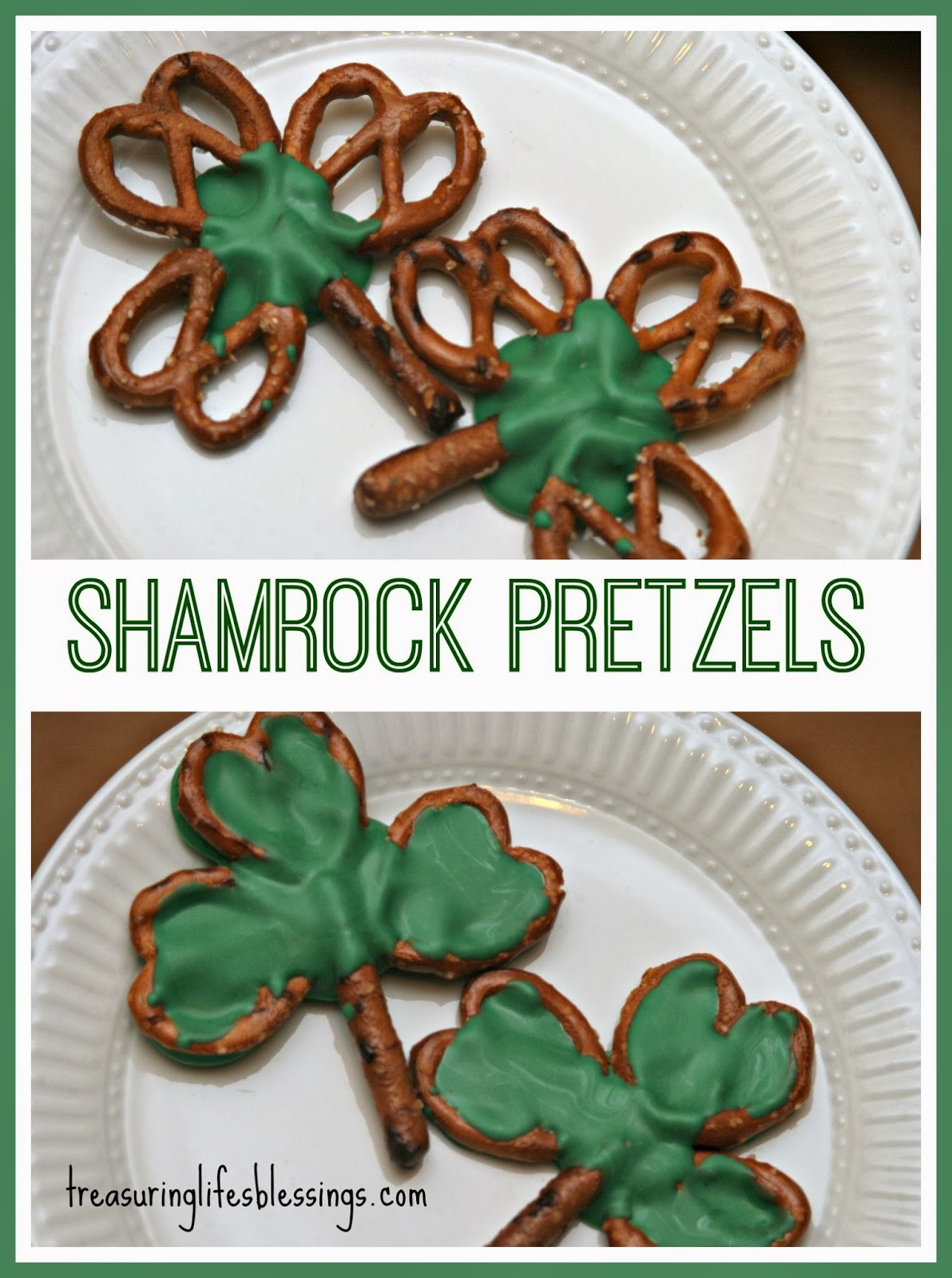 shamrock pretzels, st patty's day treat
