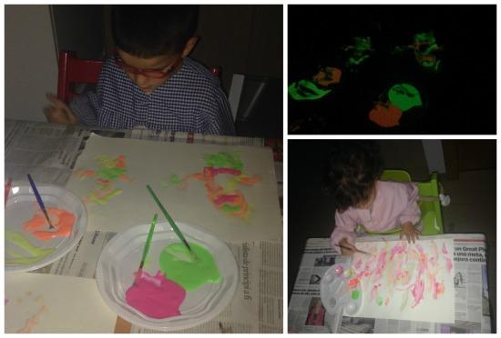 Manualidad infantil, pintar a oscuras, pintura fluorescente