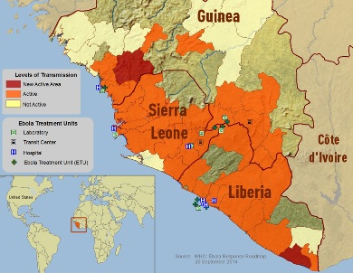 CDC's 2014 Ebola Outbreak in West Africa - Outbreak Distribution Map