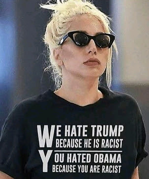 lady gaga black tshirt donald trump racist