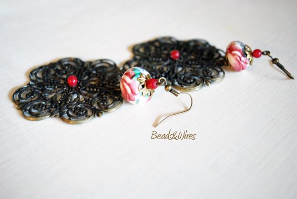 orecchino filigrana beads