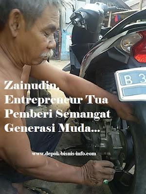 Bisnis, Info, Entrepreneur, Penambal Ban Tua, Zainudin, Depok, Pasar Musi, Pensiunan, PT KAI, Kereta Api