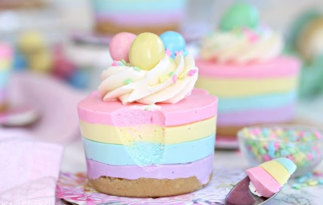 Easter No-Bake Mini Cheesecakes #desserts #sweettreat