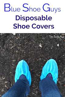 blue disposable shoe cover