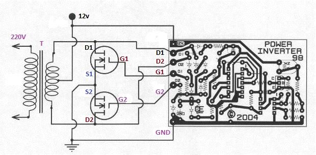 skema PCB Inverter 500Watt