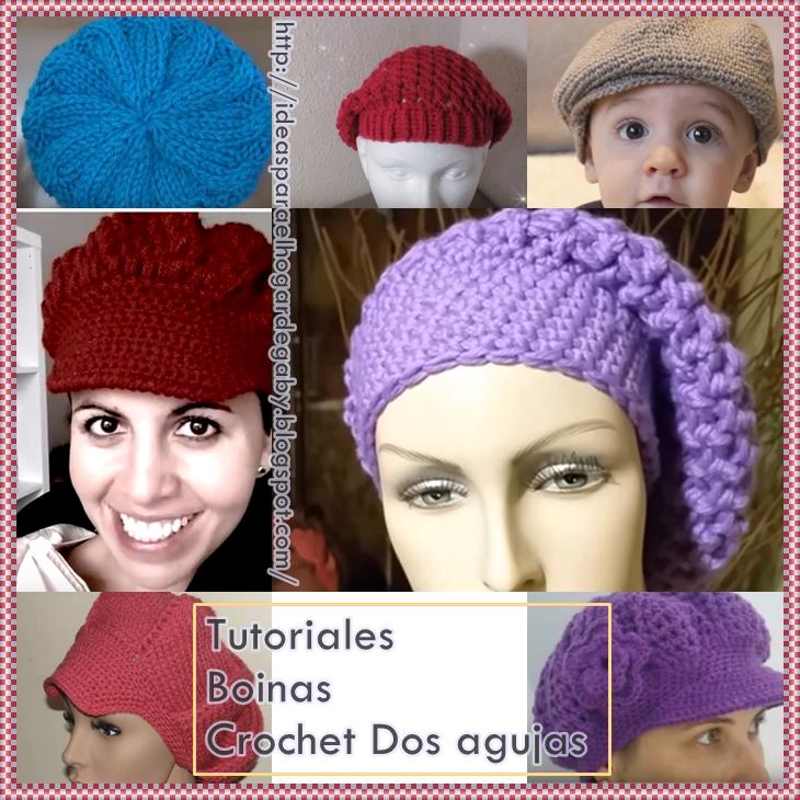 Ideas para el hogar: Tutoriales boinas crochet y dos agujas