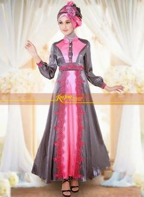 Desain model baju muslim brokat untuk orang gemuk