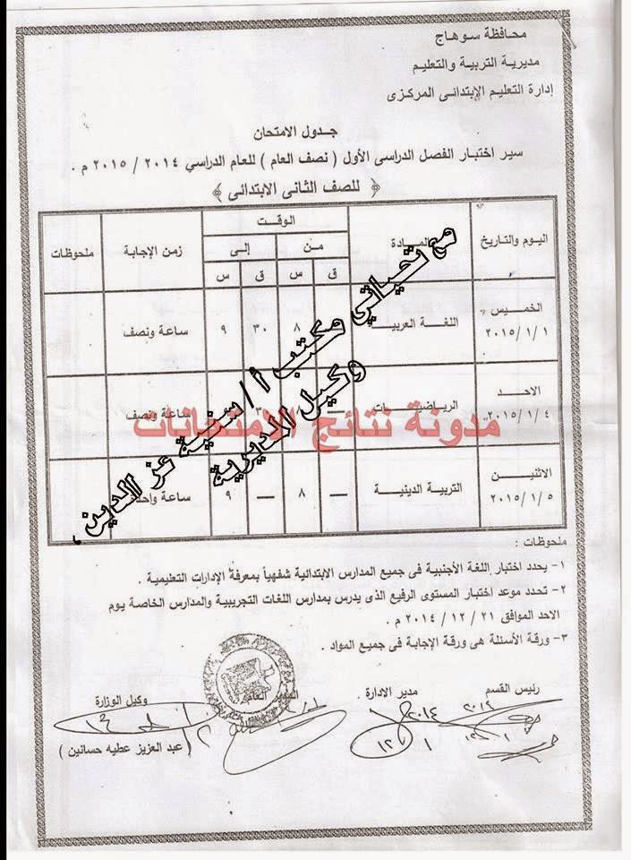 """جدول امتحانات الشهادة الابتدائيه بمحافظة سوهاج 2015 الترم الاول """"بالصور"""""""