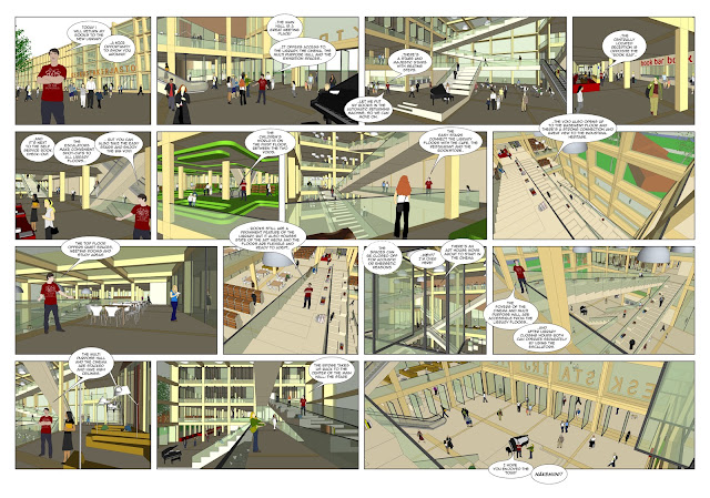 A comic book showing interiors of the wooden library
