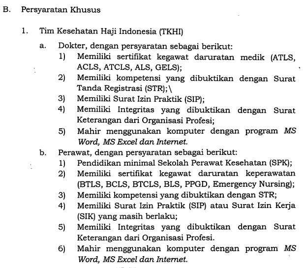 Rekrutmen Petugas Kesehatan Haji Indonesia (Pkhi) Tahun 2017 / 1438 H