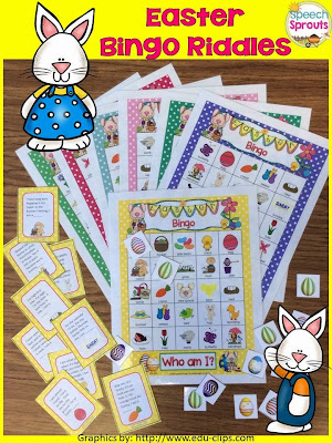 Easter Bingo Riddles- Guess the Rhyming riddles and target comprehension, naming to a description, seasonal vocabulary, inference and rhyme! By Speech Sprouts