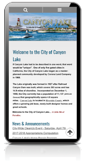 Canyon Lake California Mobile Website