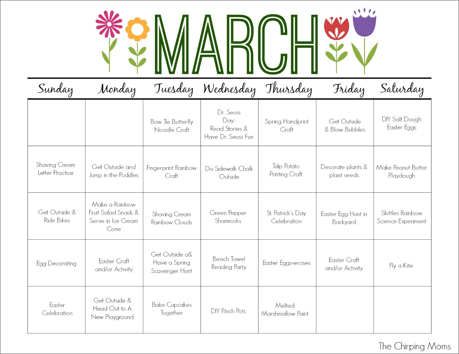 Calendar Games For Kindergarten : March printable activity calendar for kids the chirping moms