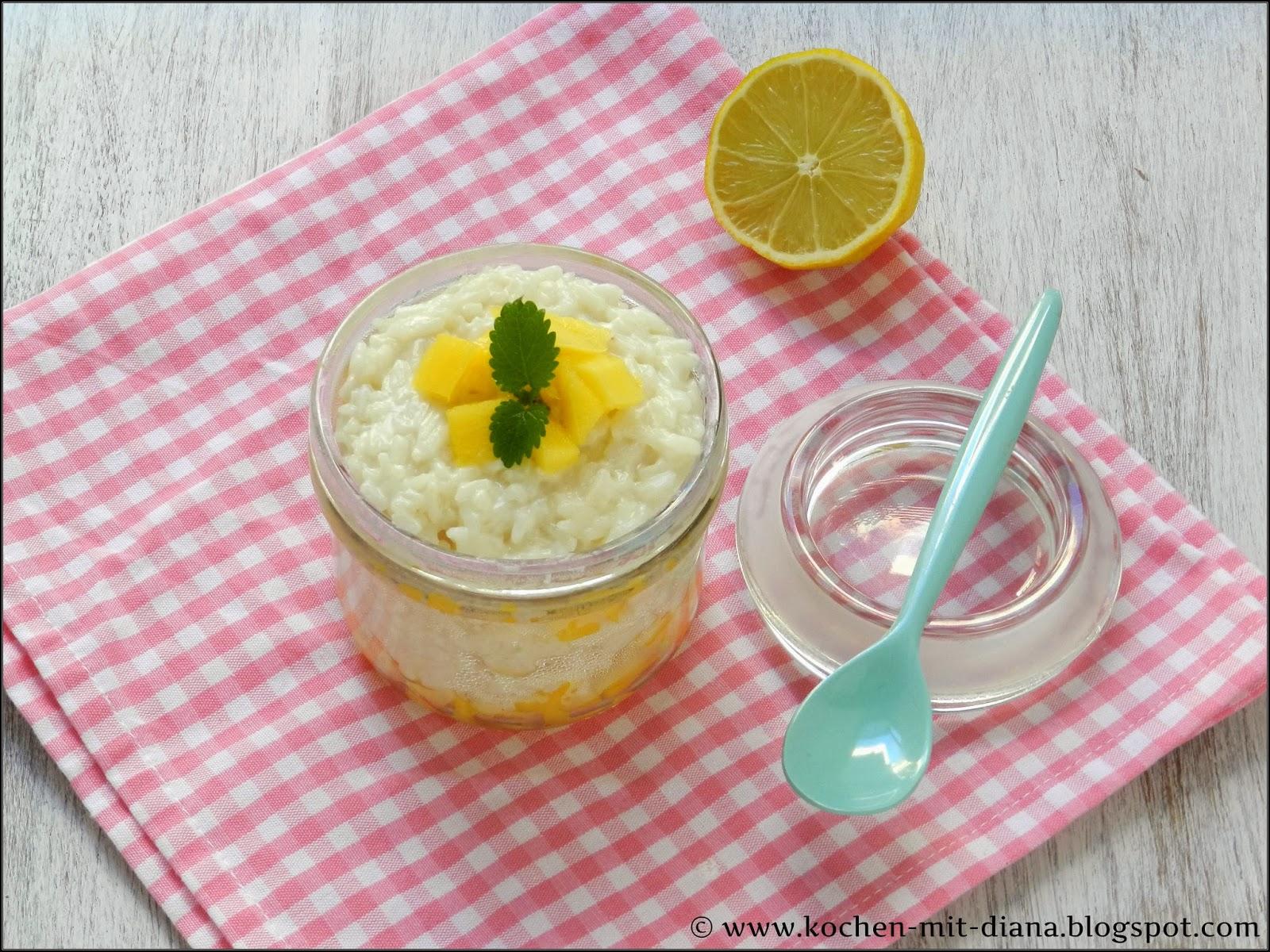 Kokos-Milchreis mit Mango und Limette