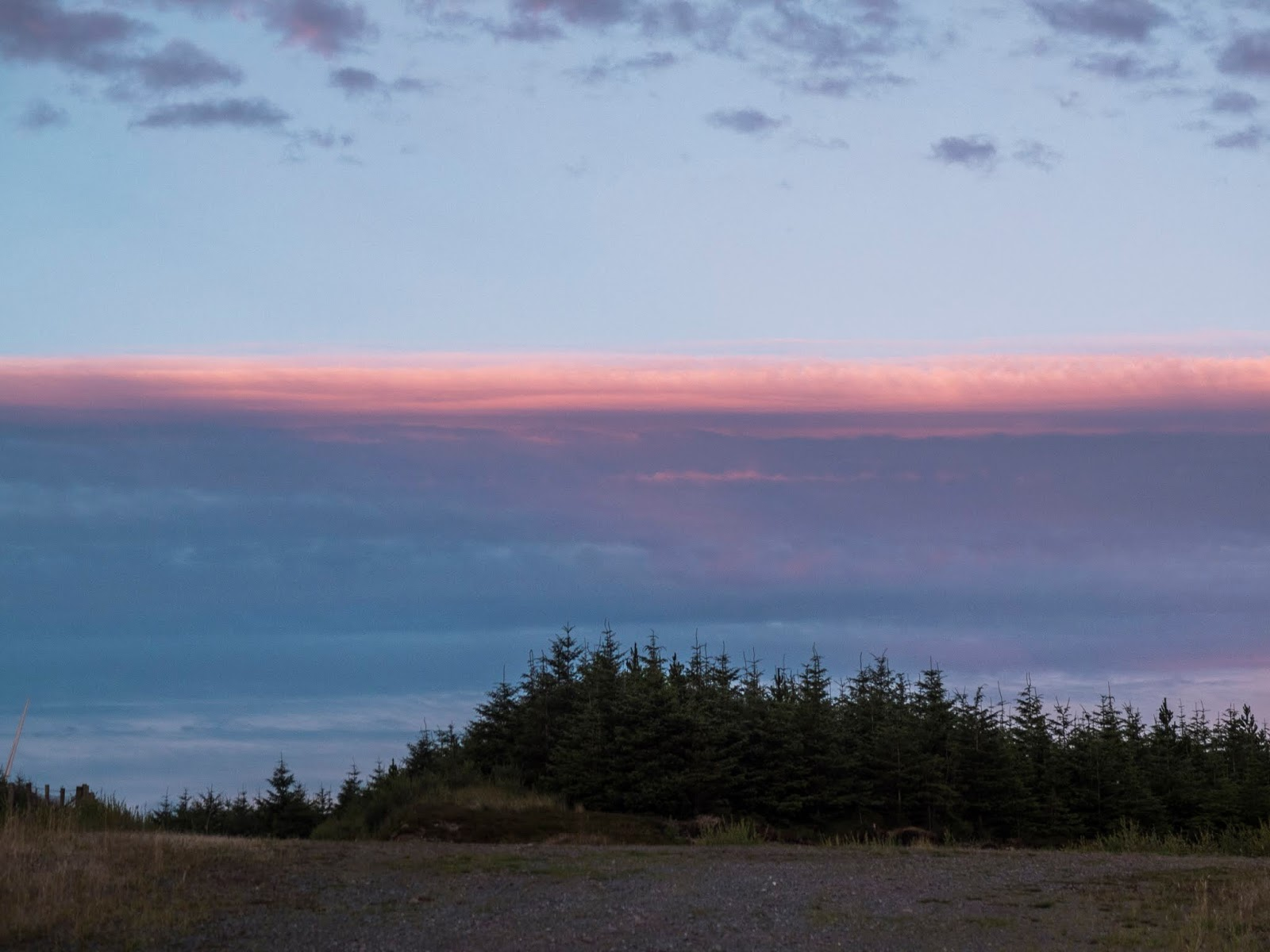 Sunset over a forest on top of a hill in the Boggeragh Mountains, Co.Cork.