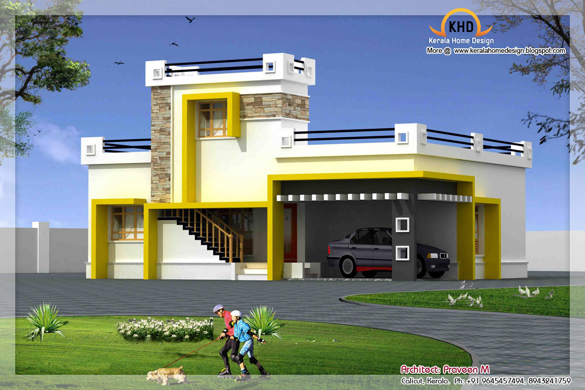 Single floor house elevation 1500 sq ft kerala home for Ground floor 3d elevation
