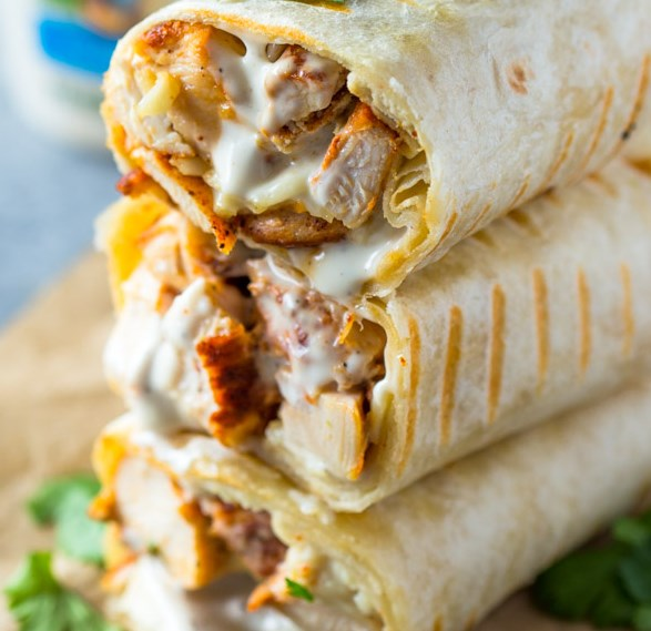 CHICKEN RANCH WRAPS #Lunch #Chicken