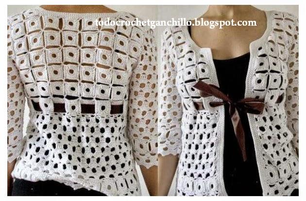 Hermoso saco blanco con lazo tejido al crochet con patrones