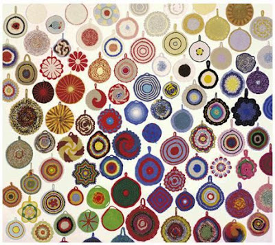 Ann Tuominen Exhibit: Crocheted pot holders from flea markets.