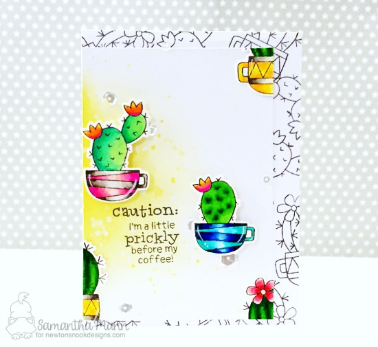 Caution Cactus Card by Samantha Mann | Cuppa Cactus Coffee and Cactus stamp set by Newton's Nook Designs #newotnsnook