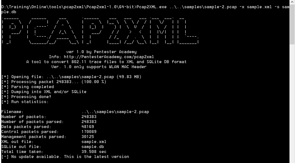SecurityTube net Hack of the Day: Pcap2XML/Sqlite - Convert 802 11