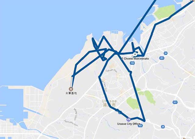 map, blue trail, Urasoe, Makiminato