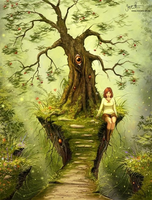 07-A-Tree-Of-Many-Faces-Jeremiah-Morelli-Fantasy-Digital-Art-from-a-Middle-School-Teacher-www-designstack-co