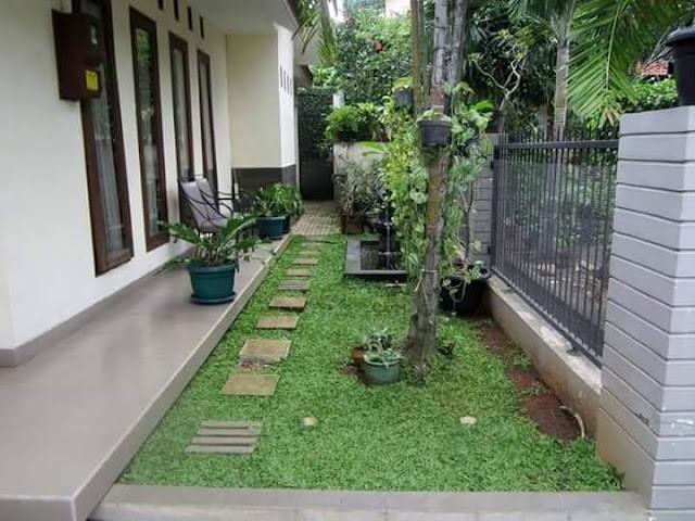 Taman Rumah Minimalis di depan rumah memanjang