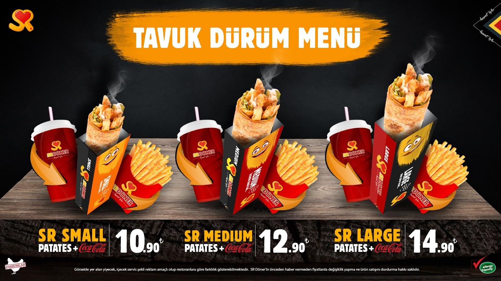 sr doner tavuk doner menu kampanya menu fiyatlari