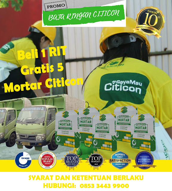 Promo Bata Ringan Citicon Gratis 5 Mortar Citicon